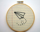 Paper Airplane- Embroidery Hoop Wall Art- Machine Stitched and Hand Embroidered