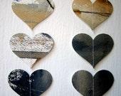 Heart Garland- Repurposed Gouache Painting- Set of 2