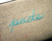 SALE - Zipper Pouch - Pads - Repurposed Denim Jeans - Notebook Paper Fabric