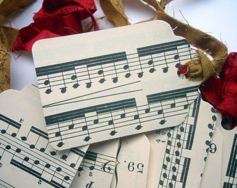 Handmade Vintage Sheet Music Gift Tags - Craft Supplies - Party and Gifting - Scrapbooking Supplies - Music Lovers Teachers - Gift Packaging