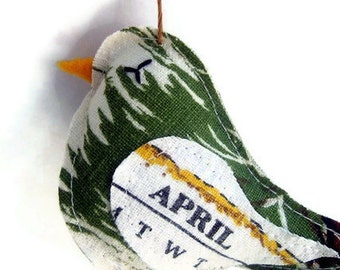 April - Vintage Calendar Tea Towel Bird - Handmade Bird Ornament - Great April Birthday Gift