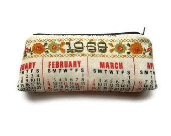 Zipper Pouch Pencil Case - 1969 Calendar Tea Towel - Makeup Case - Great Birthday Gift - Vintage Fabric Lining - Handmade