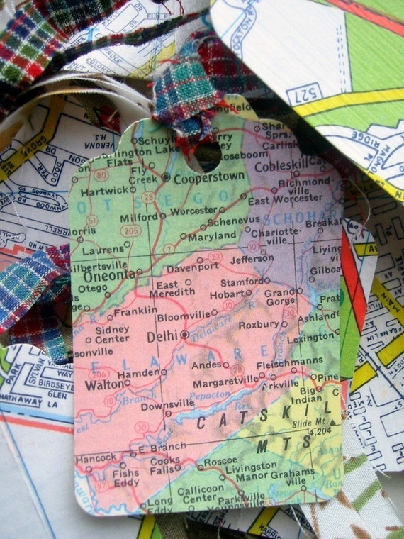 Gift Tags - Repurposed Maps - One Dozen Handmade