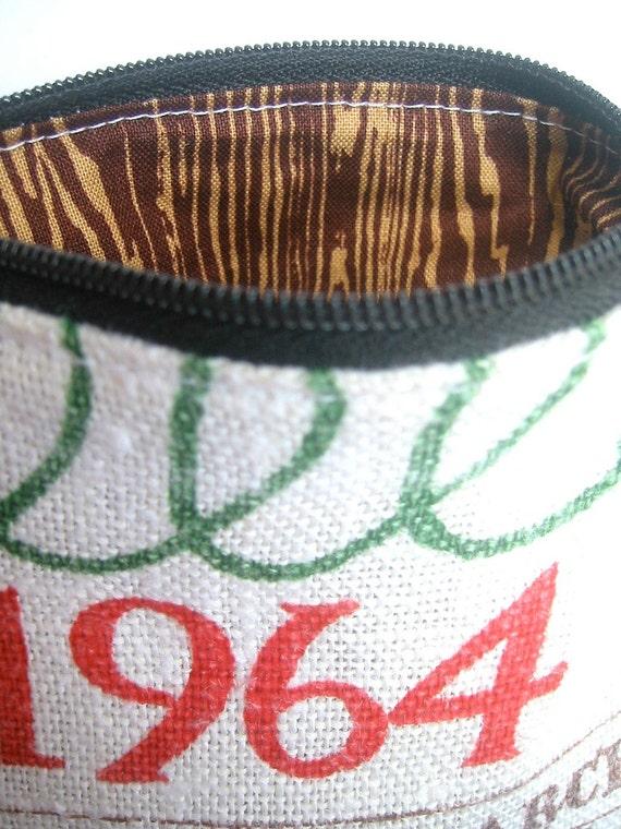 1964- Zipper Pouch- Vintage Calendar Tea Towel- Brown Faux Bois Lining