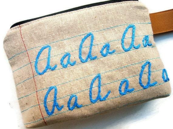 Monogrammed Zipper Pouch - Letter Sampler - Customize Your Own - Spoonflower Fabric - Great Grad or Teacher Gift
