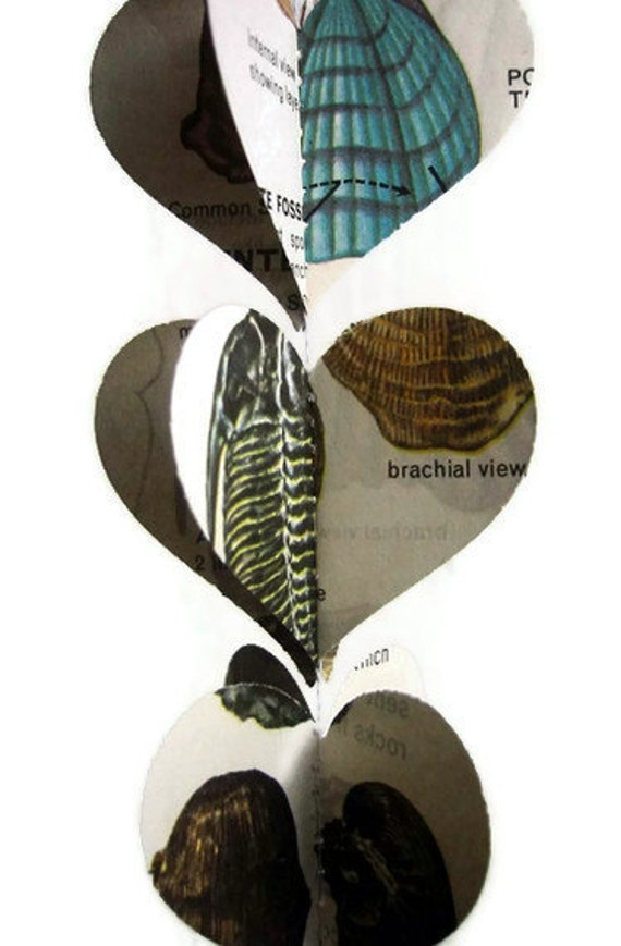 Fossils - Heart Garland - Vintage Field Guide to Fossils - Unique Handmade Party Decoration