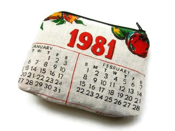 Zipper Pouch- 1981 Repurposed Vintage Calendar Tea Towel- Handmade