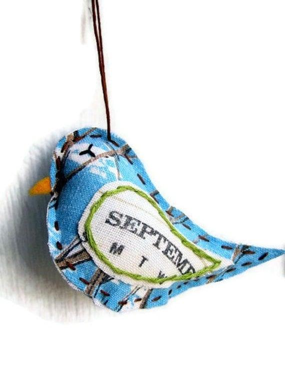 Bird Ornament- September- Repurposed Vintage Calendar Tea Towel- Lavender Scented Decoration