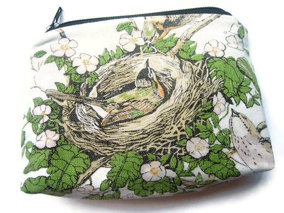 1988- Zipper Pouch- Vintage Calendar Tea Towel- Put A Bird On It
