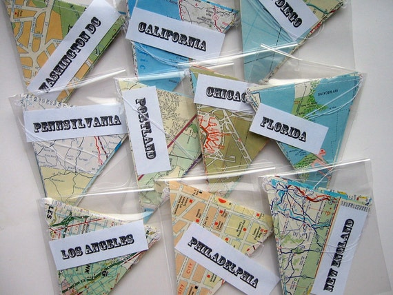Handmade Party Supplies - 10 Map Banners - Vintage Map Bunting - Going Away Party Decorations - Classroom Decorations - Road Trip Decoration