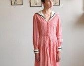 RESERVED for kisschasy-Vtg 50s Silk Taffeta Gingham NAUTICAL DELIGHT Sailor Girl Dress