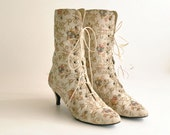 Tapestry Ankle Boots Sz 6  //  Wedding Boots  //  FAIRY FLORAL