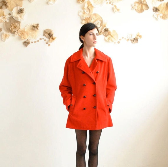 70s Red Pea Coat  //   Wool Double Breasted Coat  //  CHERRY MACKINTOSH