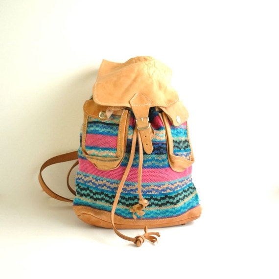 Woven Backpack  //  80s Southwest Bag  //  LEATHER and COTTON