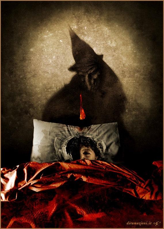 La Janara - A4 illustration print - based on a dark folklore tale
