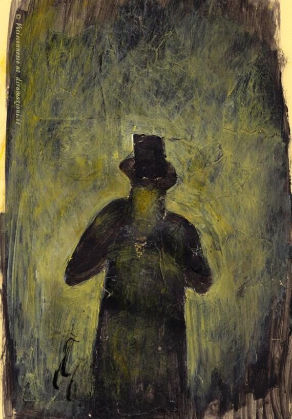 the Hat Man - A4 illustration print from original painting - A4 illustation prints