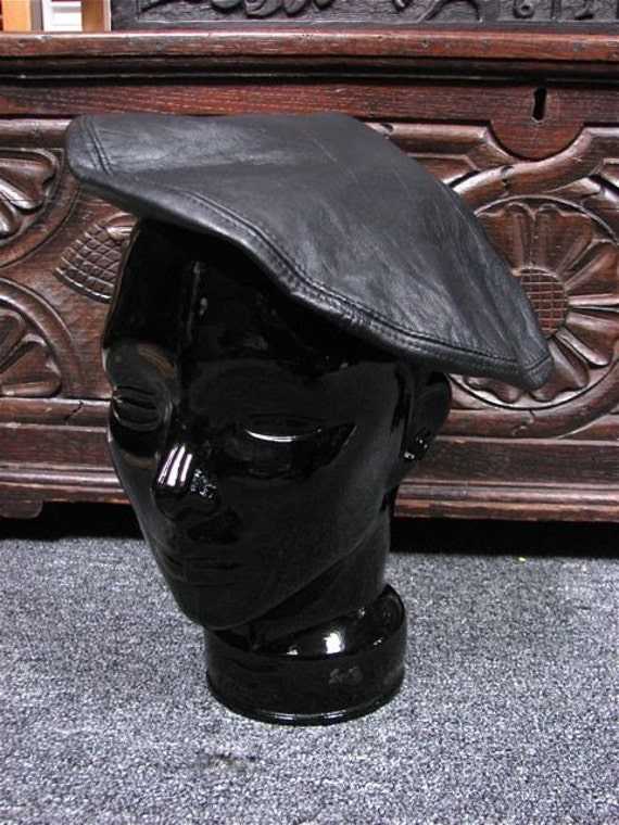 Genuine Black Leather French Beret Hat European By Therustydog