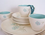 Aqua 1950s Taylor Smith Taylor Boutonniere Pattern Dishes