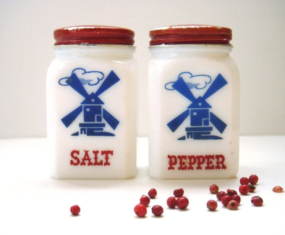 Vintage Hazel Atlas Range Windmills Salt and Pepper Shakers, Milk glass