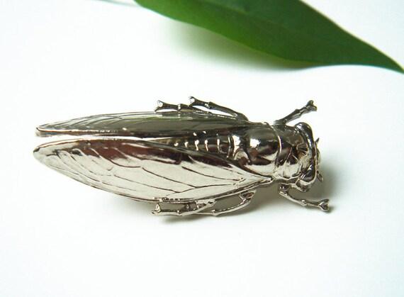 Vintage Cicada Insect  Metal Brooch