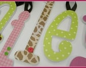 Jungle Theme,  Wooden Letters, Girl Nursery, Princess of the Jungle, Baby Name Letters, Hanging, Coord Jungle Jill Bedding, Animal Print