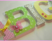 Baby Girl, Wooden Nursery Letters,  ABIGAILS Theme, Pink Yellow and Green, Tan, Butterflies, Custom -avail in any size or font in this shop
