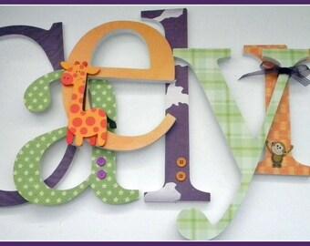 Nursery Wall Letters, Jungle Themed Nursery, Safari Nursery Decor, Baby Name Decor, Baby Girl Nursery letters, JUNGLE FUN Theme