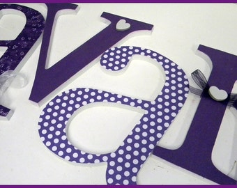 Baby Name Letters, Hanging Wooden Sign, Plum Perfect Theme, Purple Nursery Decor, Baby Girl Custom Wood Letter