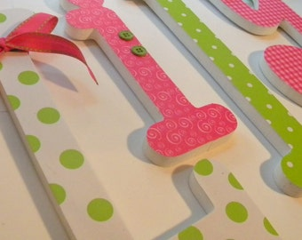 Pink and Green Nursery Decor, Baby Girl Wooden Letters - NEON PINK and GREEN, Bright Color Nursery, Baby Name Decor, Hanging Wood Letters