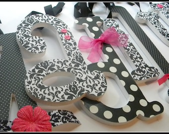 Black and White, Nursery Decor, DOTS and DAMASK Theme, Wooden Letters for Wall, Baby Name Decor, Girls Nursery, Baby Girl Bedroom, Custom