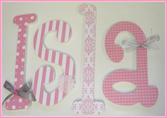 Pink Nursery Decor, Baby Girl, Wooden Wall Nursery Letters - JUST PINK Theme-Dots, Stripes, Gingham, Damask