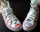 Hand Painted -CHERRY BOMB- Canvas Baseball Boots Size 6UK\/8US\/39EU