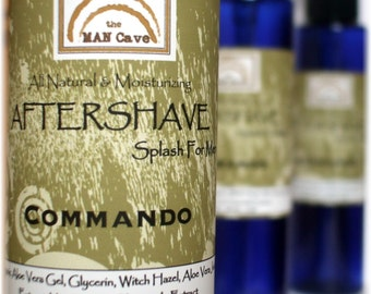 AFTERSHAVE - COMMANDO - Unscented All Natural Face Conditioner with Aloe, Green Tea and Chamomile Handmade by Man Cave Soapworks