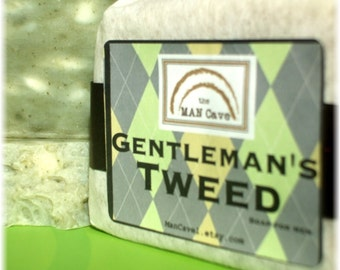 SOAP for Men - GENTLEMANS TWEED - with Organic Oils and French Green Clay by Man Cave Soapworks