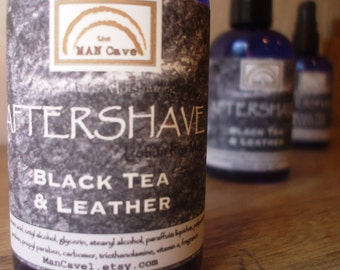 AFTERSHAVE Lotion - BLACK TEA & Leather - by Man Cave Soapworks
