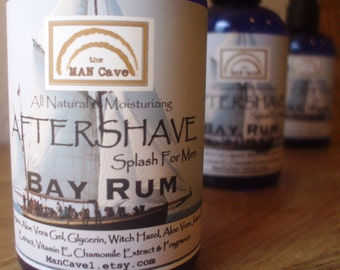 AFTERSHAVE- BAY RUM - All Natural Face Conditioner, Moisturizer with Aloe, Green Tea and Chamomile by Man Cave Soapworks