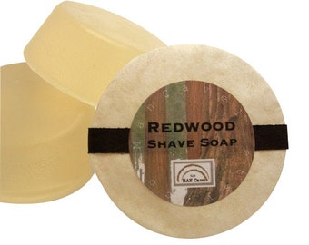 SHAVING Soap - REDWOOD - Wet Shave Soap with Bentonite Clay and Shea Butter - refills for shaving mugs too by Man Cave Soapworks