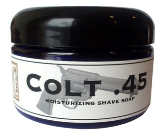 SHAVE Soap in a Jar - COLT .45 - Old Fashioned Shaving with Bentonite Clay and Shea Butter by Man Cave Soapworks