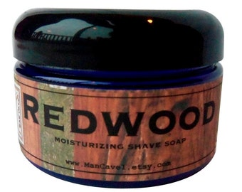 SHAVE Soap in a Jar - REDWOOD - Wet Shaving with Bentonite Clay and Shea Butter by Man Cave Soapworks