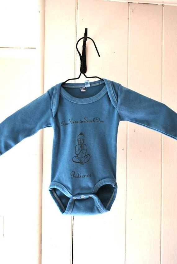 Patience Buddha - 0-3m - Earth Baby Blue - Organic Long Sleeved Baby Onesie