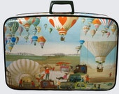 Vintage Easter Bunny Balloon decoupage suitcase