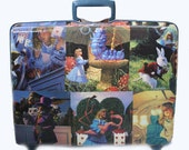 Decoupaged suitcase Alice in Wonderland carry on