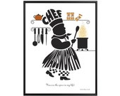 Personalized Male Chef Silhouette Print - Framed Name Art