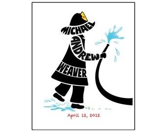 Personalized Little Boy Fireman Print, Custon Boy Name Art, Fireman Wall Art, Fireman Nursery Decor