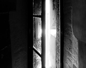 The Prisoner's View - black and white print up to 12x18, high-contrast inspirational architecture photography, medieval Gothic window