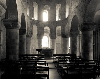 La chapelle Saint-Jean - sepia architectural photography - up to 13x19 - chapel interior, medieval church, England, arches, light