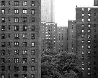 Dwelling - black and white architectural photograph, up to 13x19 - Lower Manhattan, New York City apartment buildings