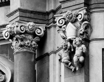 Putti - black and white photograph up to 11x14, Sicily, Italy, baroque architectural detail, stone cherubs and column