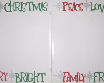CHRISTMAS WORDS/PHRASES Premade 2 Page Layout Scrapbook Border Set 12x12