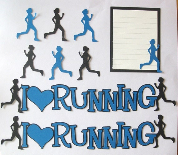 I HEART RUNNING Blue  Scrapbook Border Set, Page Layout / Die Cuts - Premade 12X12